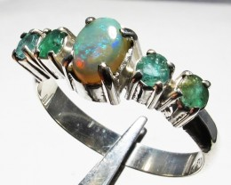 Solid Opal & Emerald set in Silver Ring Size8   PL 1204
