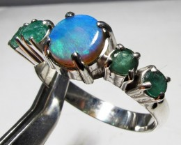 Solid Opal & Emerald set in Silver Ring Size 8  PL 1206