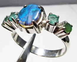 Solid Opal & Emerald set in Silver Ring Size 9  PL 1208