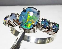 Triplet opal Cluster set in Silver Ring Size  10  PL 1210