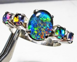 Triplet opal Cluster set in Silver Ring Size 10  PL 1212