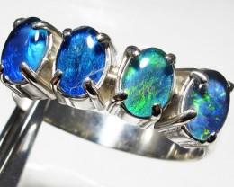 Triplet opal Cluster set in Silver Ring Size  10 PL 1229