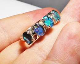Triplet opal Cluster set in Silver Ring Size  10 PL 1234