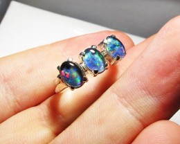 Triplet opal 3pc Cluster set in Silver Ring Size8   PL 1238