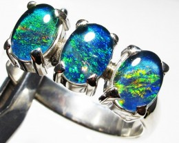 Triplet opal 3pc Cluster set in Silver Ring Size 8  PL 1240