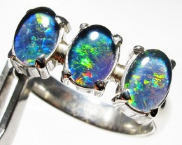 Triplet opal 3pc Cluster set in Silver Ring Size  8 PL 1241