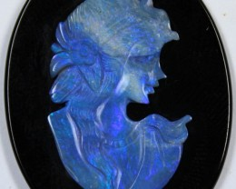 28.30 CTS CRYSTAL OPAL CARVED INTO LADY CAMEO ON ONYX