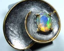 ETHIOPIAN OPAL RING STERLING SILVER 36.5 CTS    OF-593