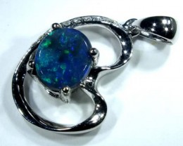 BLACK OPAL 18 K WHITE GOLD PENDANT  9.10 CTS    OF-598