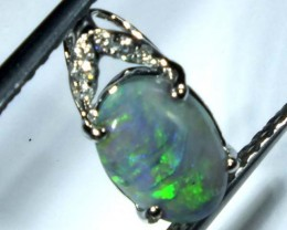 BLACK OPAL 18K WHITE GOLD  PENDANT 3.00  CTS     OF-608