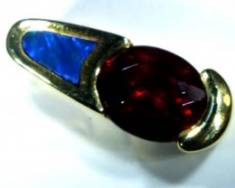 INLAY GARNET 14K GOLD PENDANT  30.80 CTS     OF-611