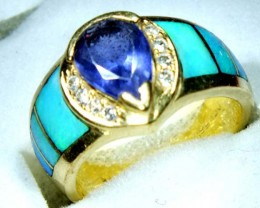 INLAY TANZANITE 18K GOLD RING 50.70   CTS     OF-613