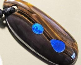 63.54 CTS Inlaid Boulder Opal Pendant MMR 1880