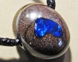 30.65 CTS Inlaid Boulder Opal Pendant MMR 1886