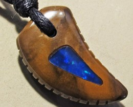 19.03 CTS Inlaid Boulder Opal Pendant MMR 1898