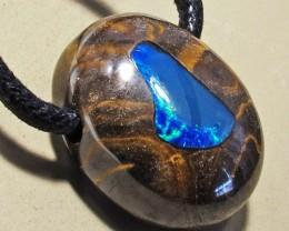 33.23 CTS Inlaid Boulder Opal Pendant MMR 1899