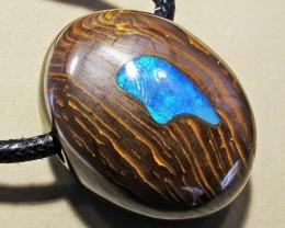 69.77 CTS Inlaid Boulder Opal Pendant MMR 1906