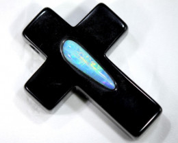 76 CTS SOLID OPAL INLAY-ONYX PENDANT  TB0-2207