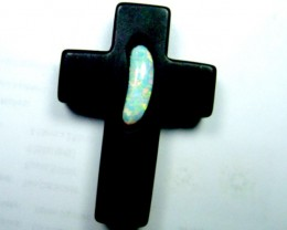 70 CTS SOLID OPAL INLAY-ONYX PENDANT TB0-2209