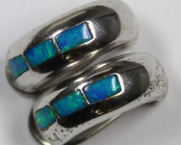 18.90 CTS OPAL INLAY 925 STERLING SILVER EARRINGS C6843