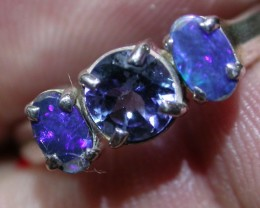 7.5 RING SIZE TANZANITE DOUBLET OPAL RING [SOJ4256]