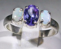 7 SIZE  CRYSTAL OPAL TANZANITE SILVER  RING [SOJ4278]