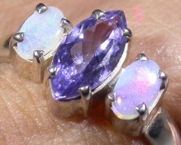 7 SIZE   CRYSTAL OPAL TANZANITE SILVER  RING [SOJ4282]