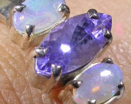 7 SIZE   CRYSTAL OPAL TANZANITE SILVER  RING [SOJ4285]