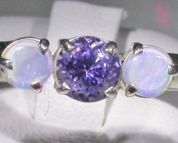 8 SIZE  CRYSTAL OPAL TANZANITE SILVER  RING [SOJ4286]