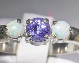 8 SIZE   CRYSTAL OPAL TANZANITE SILVER  RING [SOJ4294]