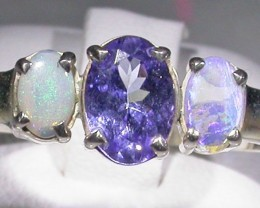 13.3 SIZE   CRYSTAL OPAL TANZANITE SILVER  RING [SOJ4297]