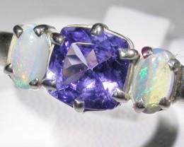 9.5 SIZE   CRYSTAL OPAL TANZANITE SILVER  RING [SOJ4504]