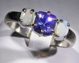 9 SIZE   CRYSTAL OPAL TANZANITE SILVER  RING [SOJ4508]