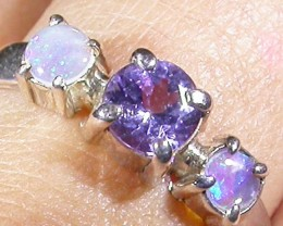 9 SIZE   CRYSTAL OPAL TANZANITE SILVER  RING [SOJ4514]