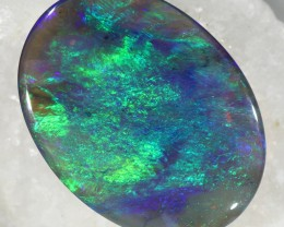 BLACK CRYSTAL OPAL DOUBLE SIDED FIRE BLUE 8.50CT L2256