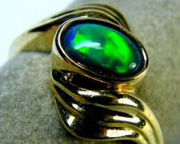 ROLLING FIRE BLACK OPAL 18K YELLOW GOLD RING SIZE 7 MY123