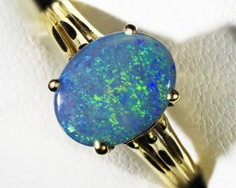 LARGE SOLID OPAL 18K GOLD RING SIZE 6 A807
