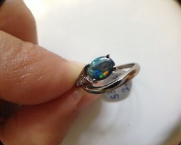 solid opal ,Diamonds  18 k  white gold ring SCO531
