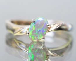 BRIGHT OPAL RING SIZE 6.5 18 K  WHITE GOLD   CK 203