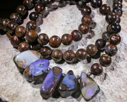 165.5 CTS BOULDER OPAL NECKLACE [SOJ4526]