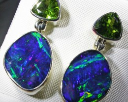GEM OPAL DOUBLET WITH PERIDOT EARRINGS  [SOJ4532]