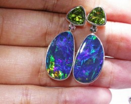 Opal And Peridot Earrings