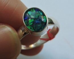 Aussie Mosaic  Opal Triplet  in silver Ring PL 1350