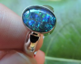 Aussie Mosaic  Opal Triplet  in silver Ring PL 1351