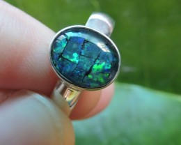 Aussie Opal  MosaicTriplet  in silver Ring PL 1352