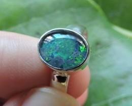 Aussie Opal Triplet  in silver Ring PL 1362