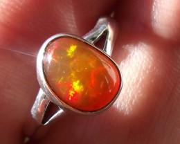 Bezel set Opal gem taxco silver ring sz 6.25
