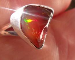 Bezel set Opal gem taxco silver ring sz 6.75