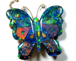 DESIGNED OPAL BROACH SOLID GOLD  125 CTS