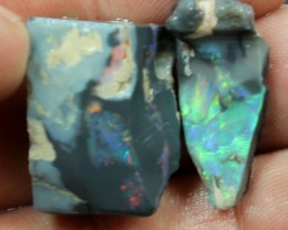 48.40 CTS 2 PCS  BLACK OPAL ROUGH/ RUB FOR CUTTING